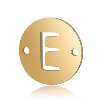 Dit tussenstuk van roestvrijstaal is te koop bij kralenwinkel Limited Edition in Den Haag in de kleur goud in de vorm E.
