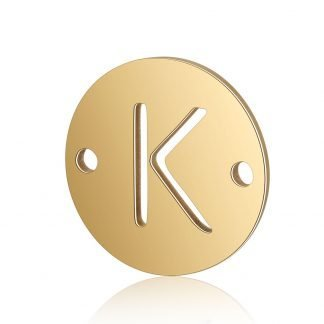Dit tussenstuk van roestvrijstaal is te koop bij kralenwinkel Limited Edition in Den Haag in de kleur goud in de vorm K.