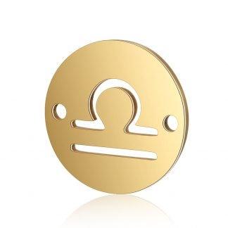 Dit tussenstuk van roestvrijstaal is te koop bij kralenwinkel Limited Edition in Den Haag in de kleur goud in de vorm Weegschaal.