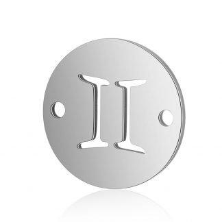Dit tussenstuk van roestvrijstaal is te koop bij kralenwinkel Limited Edition in Den Haag in de kleur zilver in de vorm Tweeling.