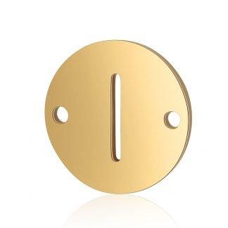 Dit tussenstuk van roestvrijstaal is te koop bij kralenwinkel Limited Edition in Den Haag in de kleur goud in de vorm I.