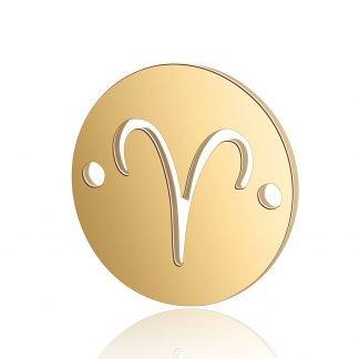 Dit tussenstuk van roestvrijstaal is te koop bij kralenwinkel Limited Edition in Den Haag in de kleur goud in de vorm Ram.