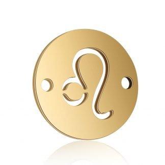 Dit tussenstuk van roestvrijstaal is te koop bij kralenwinkel Limited Edition in Den Haag in de kleur goud in de vorm Leeuw.