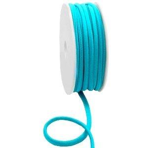 Dit elastichse gestikte Ibiza 5mm lint is te koop bij kralenwinkel Limited Edition in Den Haag in de kleur turquoise blauw.