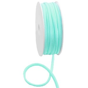 Dit elastichse gestikte Ibiza 5mm lint is te koop bij kralenwinkel Limited Edition in Den Haag in de kleur turquoise groen.