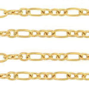 Deze RVS schakel ketting is te koop bij kralenwinkel Limited Edition in Den Haag in de maat 14x7mm in de kleur goud.