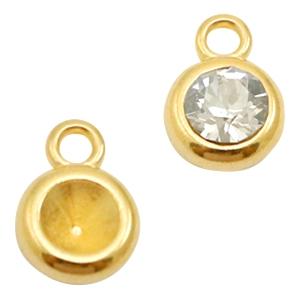 In deze setting met een oog past een SS24 puntsteen van Swarovski en is te koop bij kralenwinkel Limited Edition in Den Haag in de kleur goud.