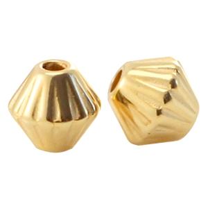 Deze gouden kraal met een groot gat van DQ kwaliteit is te koop bij kralenwinkel Limited Edition in Den Haag.