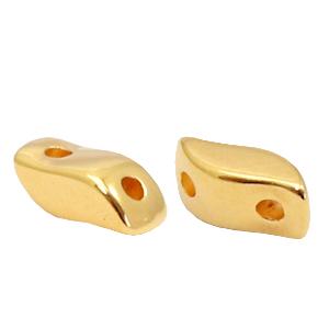 Deze gouden kraal met twee gaten van DQ kwaliteit is te koop bij kralenwinkel Limited Edition in Den Haag.