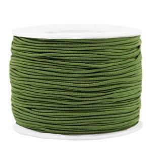 Dit gekleurde elastiek is 1,2mm dik en is te koop bij kralenwinkel Limited Edition in Den Haag in de kleur olijf groen.