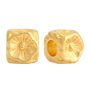 Deze gouden kraal met bloem van DQ kwaliteit is te koop bij kralenwinkel Limited Edition in Den Haag.