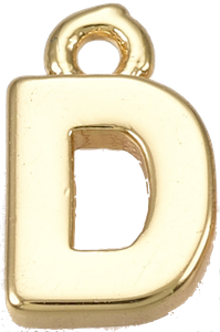Deze gouden letterbedel is te koop bij kralen winkel Limited Edition in Den Haag in de letter D.