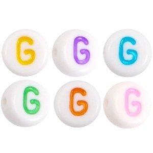 Deze wit multicolour acryl letter kralen zijn te koop bij kralenwinkel Limited Edition in Den Haag in de vorm van een g.
