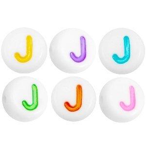 Deze wit multicolour acryl letter kralen zijn te koop bij kralenwinkel Limited Edition in Den Haag in de vorm van een j.