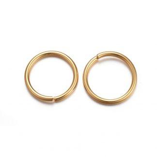 Deze 12x1,2mm open ringen van roestvrijstaal in de kleur goud zijn ideaal om sieraden mee af te werken en te koop bij kralenwinkel Limited Edition in Den Haag.
