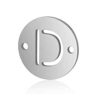Dit tussenstuk van roestvrijstaal is te koop bij kralenwinkel Limited Edition in Den Haag in de kleur zilver in de vorm D.