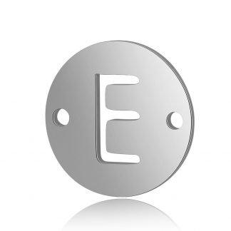 Dit tussenstuk van roestvrijstaal is te koop bij kralenwinkel Limited Edition in Den Haag in de kleur zilver in de vorm E.