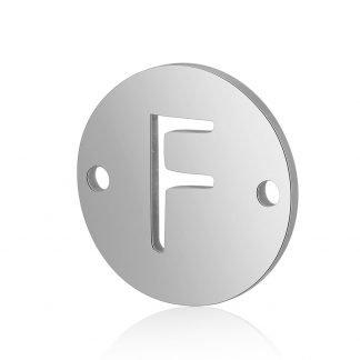 Dit tussenstuk van roestvrijstaal is te koop bij kralenwinkel Limited Edition in Den Haag in de kleur zilver in de vorm F.