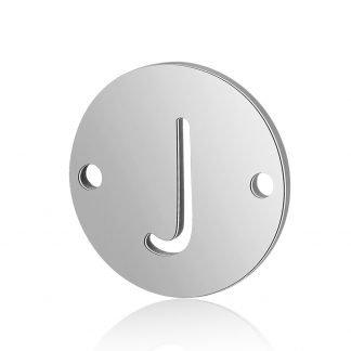 Dit tussenstuk van roestvrijstaal is te koop bij kralenwinkel Limited Edition in Den Haag in de kleur zilver in de vorm J.