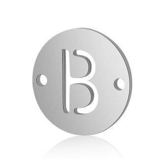 Dit tussenstuk van roestvrijstaal is te koop bij kralenwinkel Limited Edition in Den Haag in de kleur zilver in de vorm B.