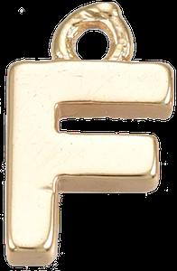 Deze gouden letterbedel is te koop bij kralen winkel Limited Edition in Den Haag in de letter F.