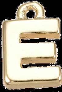 Deze gouden letterbedel is te koop bij kralen winkel Limited Edition in Den Haag in de letter E.