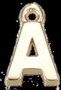 Deze gouden letterbedel is te koop bij kralen winkel Limited Edition in Den Haag in de letter A.