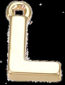 Deze gouden letterbedel is te koop bij kralen winkel Limited Edition in Den Haag in de letter L.