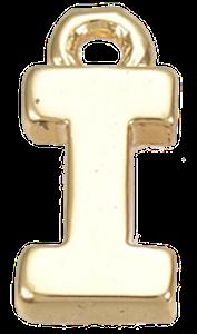 Deze gouden letterbedel is te koop bij kralen winkel Limited Edition in Den Haag in de letter I.