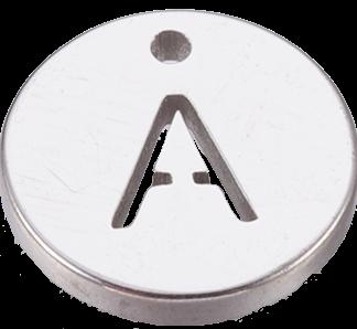 Deze bedel van roestvrijstaal is te koop bij kralenwinkel Limited Edition in Den Haag in de kleur zilver in de vorm A.