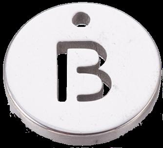 Deze bedel van roestvrijstaal is te koop bij kralenwinkel Limited Edition in Den Haag in de kleur zilver in de vorm B.