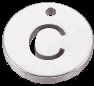 Deze bedel van roestvrijstaal is te koop bij kralenwinkel Limited Edition in Den Haag in de kleur zilver in de vorm C.