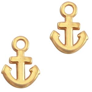 Deze anker vormige bedel van designer quality is te koop bij kralenwinkel Limited Edition in Den Haag in de kleur goud.
