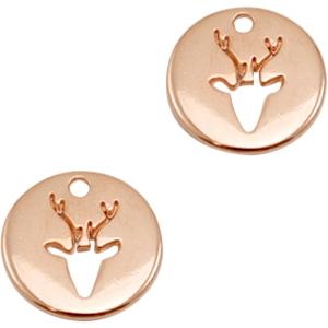 Deze bedel van Designer Quality in de vorm van een munt met rendier zijn te koop bij kralenwinkel Limited Edition in Den Haag.