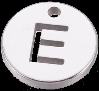 Deze bedel van roestvrijstaal is te koop bij kralenwinkel Limited Edition in Den Haag in de kleur zilver in de vorm E.