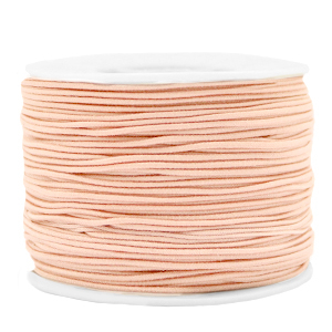 Dit gekleurde elastiek is 1,2mm dik en is te koop bij kralenwinkel Limited Edition in Den Haag in de kleur perzik.