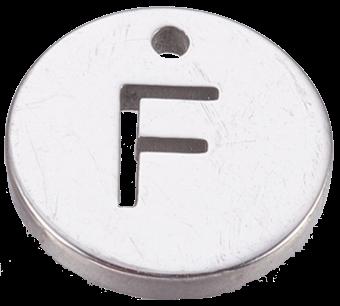 Deze bedel van roestvrijstaal is te koop bij kralenwinkel Limited Edition in Den Haag in de kleur zilver in de vorm F.