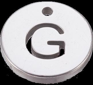 Deze bedel van roestvrijstaal is te koop bij kralenwinkel Limited Edition in Den Haag in de kleur zilver in de vorm G.