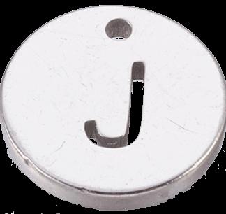 Deze bedel van roestvrijstaal is te koop bij kralenwinkel Limited Edition in Den Haag in de kleur zilver in de vorm J.