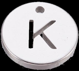 Deze bedel van roestvrijstaal is te koop bij kralenwinkel Limited Edition in Den Haag in de kleur zilver in de vorm K.