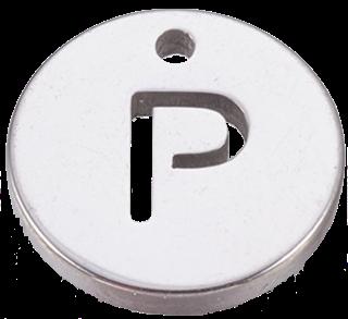 Deze bedel van roestvrijstaal is te koop bij kralenwinkel Limited Edition in Den Haag in de kleur zilver in de vorm P.