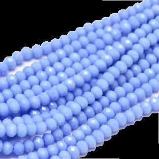 Deze facet geslepen rondelle kralen in de maat 4x3mm zijn te koop per streng bij kralenwinkel Limited Edition in Den Haag in de kleur Periwinkle.