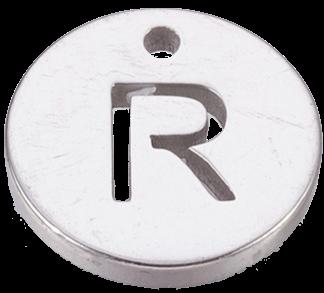 Deze bedel van roestvrijstaal is te koop bij kralenwinkel Limited Edition in Den Haag in de kleur zilver in de vorm R.