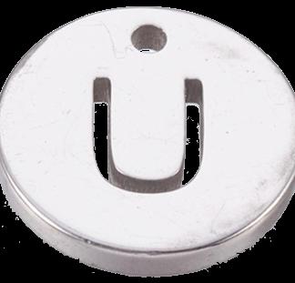 Deze bedel van roestvrijstaal is te koop bij kralenwinkel Limited Edition in Den Haag in de kleur zilver in de vorm U.