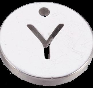 Deze bedel van roestvrijstaal is te koop bij kralenwinkel Limited Edition in Den Haag in de kleur zilver in de vorm Y.