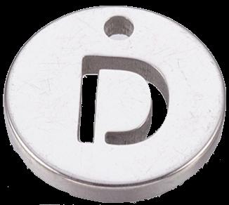 Deze bedel van roestvrijstaal is te koop bij kralenwinkel Limited Edition in Den Haag in de kleur zilver in de vorm D.