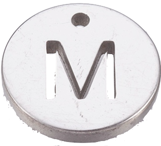 Deze bedel van roestvrijstaal is te koop bij kralenwinkel Limited Edition in Den Haag in de kleur zilver in de vorm M.