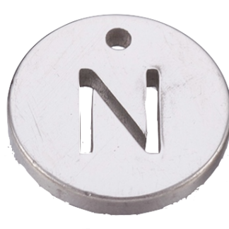 Deze bedel van roestvrijstaal is te koop bij kralenwinkel Limited Edition in Den Haag in de kleur zilver in de vorm N.