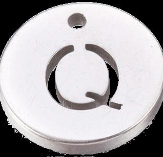 Deze bedel van roestvrijstaal is te koop bij kralenwinkel Limited Edition in Den Haag in de kleur zilver in de vorm Q.