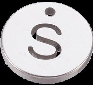 Deze bedel van roestvrijstaal is te koop bij kralenwinkel Limited Edition in Den Haag in de kleur zilver in de vorm S.